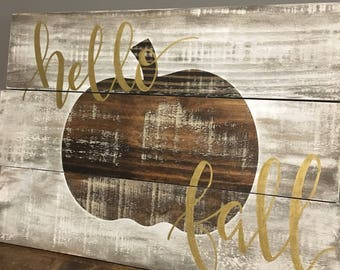 Hello fall rustic wood sign