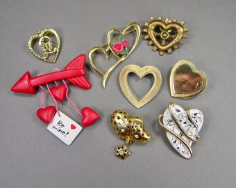 Heart Brooch Lot, Crystal, Rhinestone, Antiqued Brass, Signed, 1928, Repurpose or Wear, Scarf Ring, Valentines Day