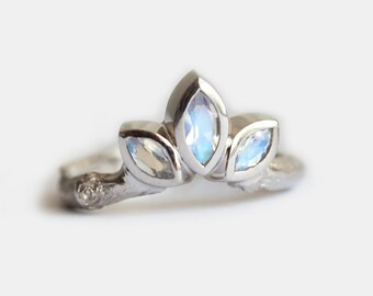 Moonstone Wedding Ring, Moonstone Wedding Band, Gold Moonstone Band, Organic Wedding Band, Organic Wedding Ring, Branch Wedding ring