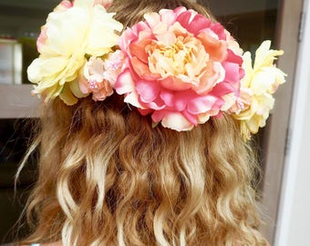 Mabel Flower Crown, yellow, orange, peach and pink flower crown, festival, party, wedding, summer, boho