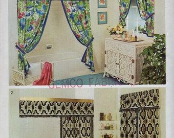 Free Us Ship Simplicity 5545 Decorator Pattern Shower Curtain Window Treatments Valance Panels Uncut Home Vintage Retro 1970s 70s Pattern