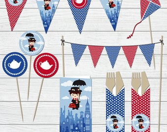 Printable party - Festa a tema Mary Poppins - Download digitale