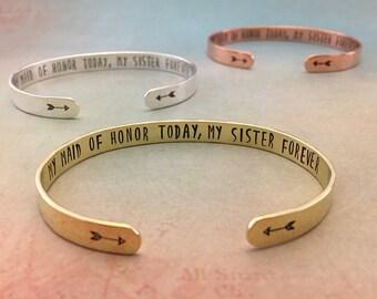 Maid of Honor Gift Sister, Maid of Honor Proposal, Will you be my Maid of Honor Sister, Maid of Honor Bracelet, MOH, Red Fern Studio