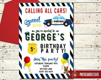 POLICE Birthday Invitation, Police Car Invitation, Police Birthday, Police, Birthday Invitation, Car, Card, Birthday, invite, Digital