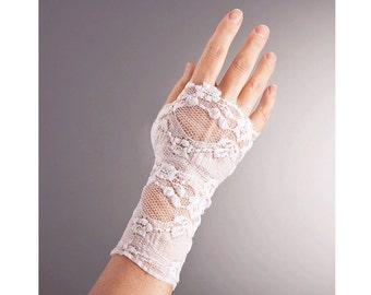WEDDING Fingerless Short Lace GLOVES, Wedding Lace gloves, Ivory lace gloves, ivory short gloves, fingerless white gloves,white short gloves