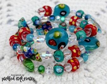 Floral Lampwork Beads Memory Wire Bracelet
