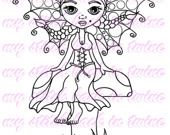 Digital stamp colouring image - Fairy Darcee . jpeg / png