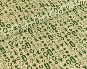 Cotton fabric joyful Christmas motifs Pine Green / cream (9,50 EUR / meter)