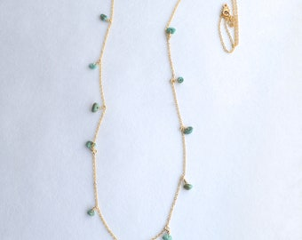 14k Gold Filled Turquoise Chain Necklace - Gold Chain Necklace - Gold Turquoise Necklace - Dressy - Turquoise Chip and Chain - Long Layering
