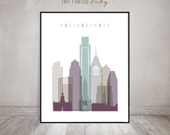 Philadelphia Wall Art Print Skyline Poster, ArtPrintsVicky