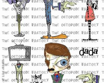 INSTANT DOWNLOAD Weird Dada Digital Collage Sheet