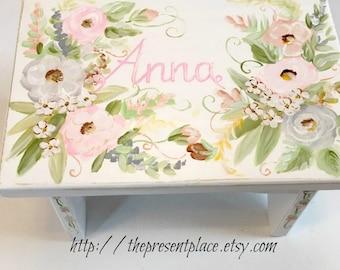 personalized stepstool,pink,grey,step stool,bohemian flowers,girls step stool,kids bench,baby's stepstool,childrens bench,distressed