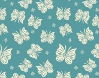 Teal Knit - Butterflies - Acorn Valley Flutter Teal in Knit