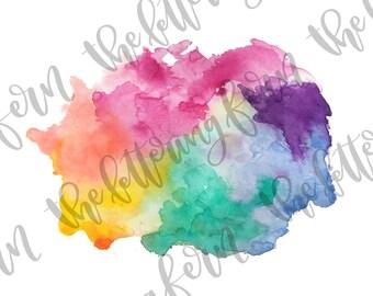 Watercolor Image   png, jpeg file, jpg hand made splotch, splashes, background, clip art, splash, wash colors, rainbow, shades of green