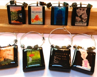 Choose Your Book Covers - Book Club Scrabble Wine Glass Charms