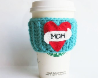 Mothers Day Gift, travel mug cozy, coffee cozy, turquoise, red, crochet, embroidered, heart tattoo, love, Mom gift, unique, travel cup
