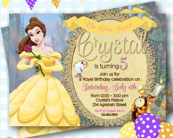 Belle Invitation, Beauty and the Beast Invitation, Princess Belle Invitations, Belle Party Invites, Princess Belle Invitations - P471