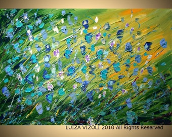 Flowers 60x48 Original Modern Abstract Palette Knife Impasto Flowers Large Painting by Luiza Vizoli