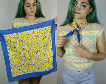 "Vintage 1990s Smiley + Flower Cotton Square Scarf / Handkerchief (22"" × 22"")"