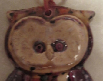 Holiday Art OWL Ornament - hand painted, glazed bisque pottery - one of a kind - Christmas, Xmas, Artmas, Artsy, Owl-icious