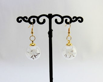 Earrings Globe dandelion seeds