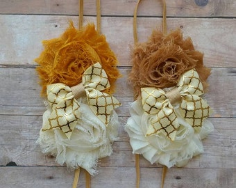 Fall Shabby Flower Headband with Cream and Gold accent Bow