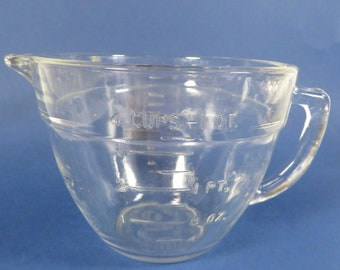 Vintage Anchor Hocking Fire King Mixing Batter Bowl - FireKing Measuring Bowl