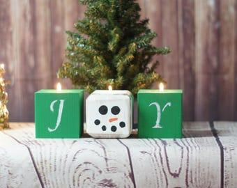 Green Joy Snowman Chalkboard Candles