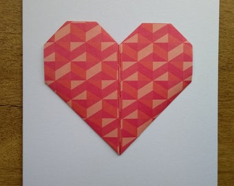 Red origami heart greetings card