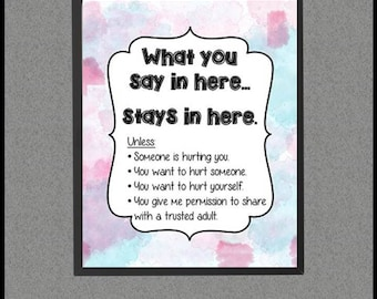 School Counselor Confidentiality Rules Poster, School Counselor Decor, Counseling Pink Blue Watercolor Office Decor, School Counselor Sign