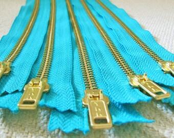 11inch - Turquoise Metal Zipper - Gold Teeth - 5pcs
