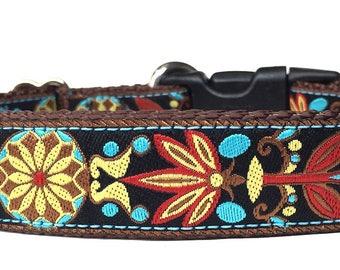Pinwheel Pattern with Turquoise and Brown Ribbon Dog Collar