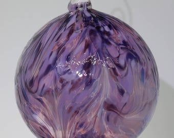 Hand Blown Ornament Purple Swirl