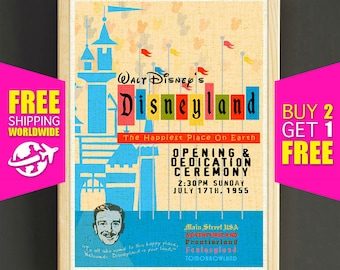 Disney Poster, Disneyland Vintage, Happiest Place, Disneyland Print, Adventureland, Disney Art, Fantasyland, Nursery Wall Art Home Decor 353