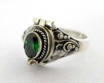 Green quartz May birthstone color Poison Ring Bali Sterling Silver Locket Ring AR04