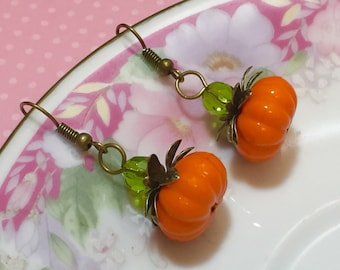 Pumpkin Earrings, Autumn Drop Earrings, Thanksgiving Jewelry, Orange Pumpkin Earrings, Fall Earrings, Lightweight Earrings, Kawaii Jewelry