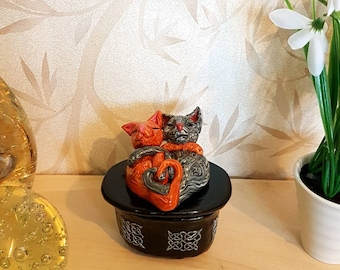 Cat Statue, Cat Box, Trinket Box, Jewelry Box, Keepsake Box, Fimo Box, Polymer Clay Box, Storage Box, Gift Box, Cat Ornament
