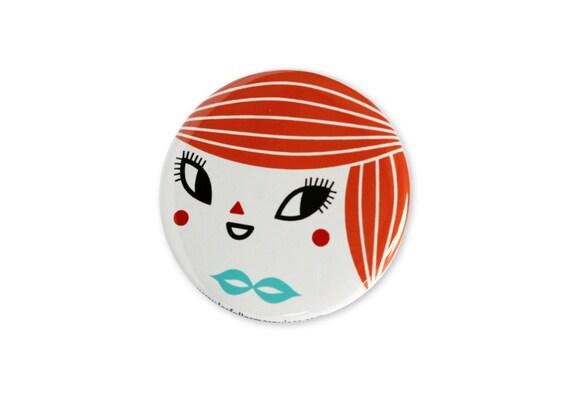 Pocket mirror Ginger - cute accessory - mini bag mirror kawaii - girl illustration - mint green bowtie - 56 mm
