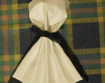 Black and white dress forms napkins folding
