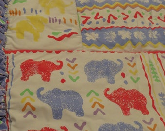 Vintage Totally 90's Colorful animals crib comforter