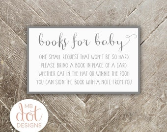 Books for Baby - Baby Shower Book Request - Gray - Instant Download