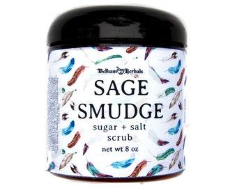 SAGE SMUDGE Sugar Scrub - sugar scrubs, salt scrubs, white sage, smudge bundle, wicca, new age, gifts for her, gift for him, spa gift