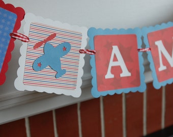 Airplane I am 1 Banner, Highchair Banner, I am 1, Airplane Theme, Take Flight, Red, White and Blue