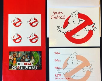 The Real Ghostusters Party Set - 8 Invitations and 4 Favor Packs (Stickers and Magnet Set)