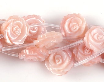 0516 12mm Mother of pearl MOP pink shell flower loose beads 15pcs (both size carved)