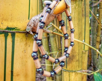 Kauai Bamboo Jewelry - Hawaiian Bamboo and Hematite Bracelet
