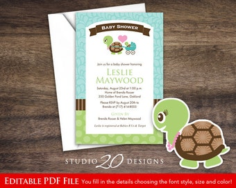 Instant Download Turtle Baby Shower Invitations Editable Pdf, DIY 4x6 Printable Baby Shower Turtle Invites, AUTOFILL enabled 56A