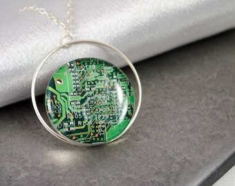 Circuit Board Necklace Green, Sterling Silver Jewelry, Geek Gift for Her, Wearable Technology, Artisan Industrial Necklace, Geekery