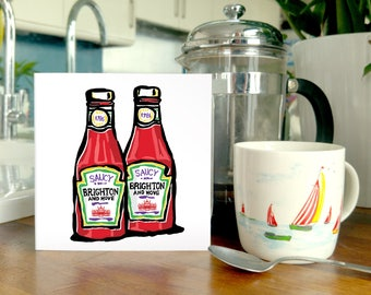 Saucy Brighton & Hove Ketchup - Blank Greetings Card - the classic ketchup pack with a humorous Brighton twist. Kitchen inspired fun!