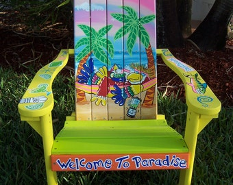 Tropical Adirondack Chair Handcrafted Hand Painted Parrot Hammock Beach Palms